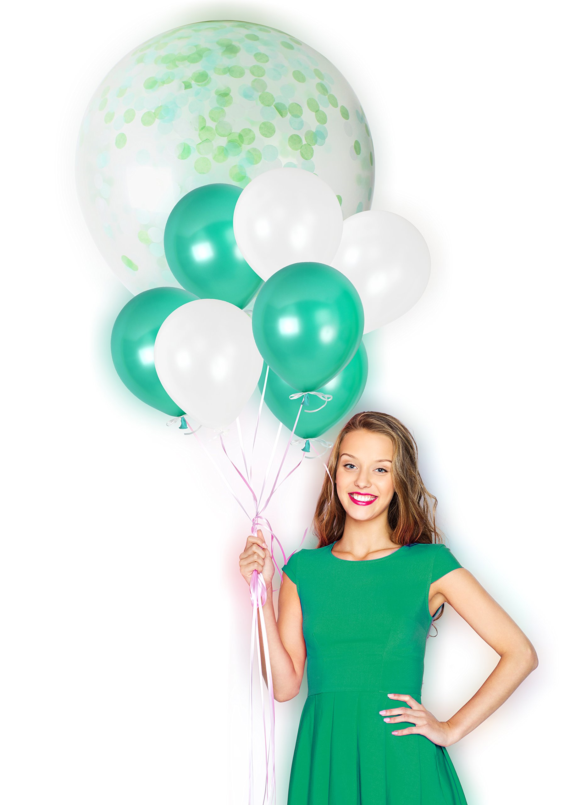 Green and White Birthday Metallic Helium Pearlized Latex Balloons Transparent Confetti Decorations for Jungle St Patrick Emerald Wedding Dinosaur Theme Backdrop