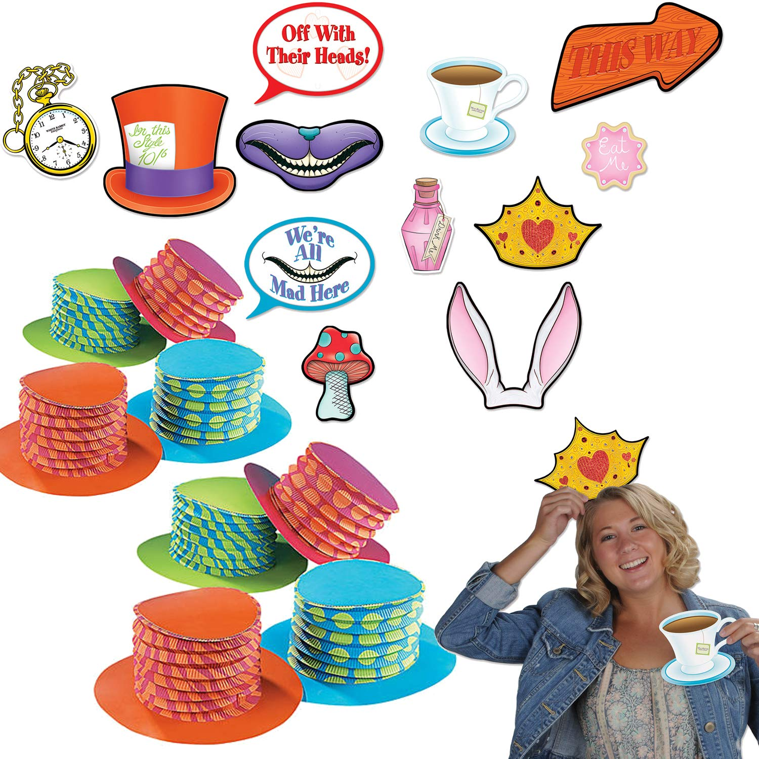 Curated Nirvana Alice in Wonderland Party Prop Bundle   12 Accordion Hats, 12 Double Sided Photo Props   Great for Tea Parties, Birthdays, Baby Showers
