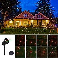 Proyector Navidad exterior con diseño dinámico Proyector de luz rojas y verdes giratorias foco de proyector decorativa etanche lámpara de proyector para decoración jardín, casa, cumpleaños, Carnaval