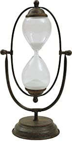 Creative Co-Op Decorative Metal Hourglass with White Sand, Rust