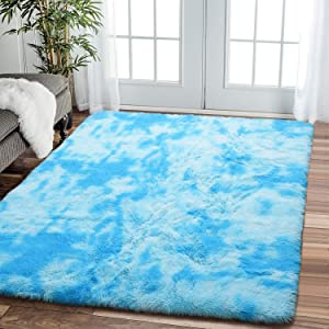 Comeet Super Soft Living room Rugs for Bedroom Fluffy Area Rugs for Kids Room Abstract Floor Modern Indoor Shaggy Plush Carpets, Home Room Decor Fuzzy Comfy Nursery Baby Play Accent Mat 5x8 Feet, Blue