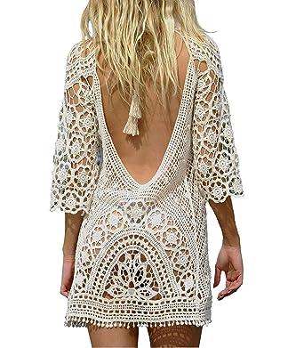 Amazon.com: Tops de encaje de ganchillo para mujer, vestidos ...