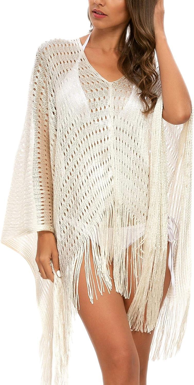 MessBebe Mujer Traje de Baño Sexy Bikini Cubrir Verano Crochet Flecos Bikini Cover Up Vestido de Playa Borla de Ganchillo Túnica Transparente Tops Blusa Camisola de Playa Protección Solar: Amazon.es: Ropa y