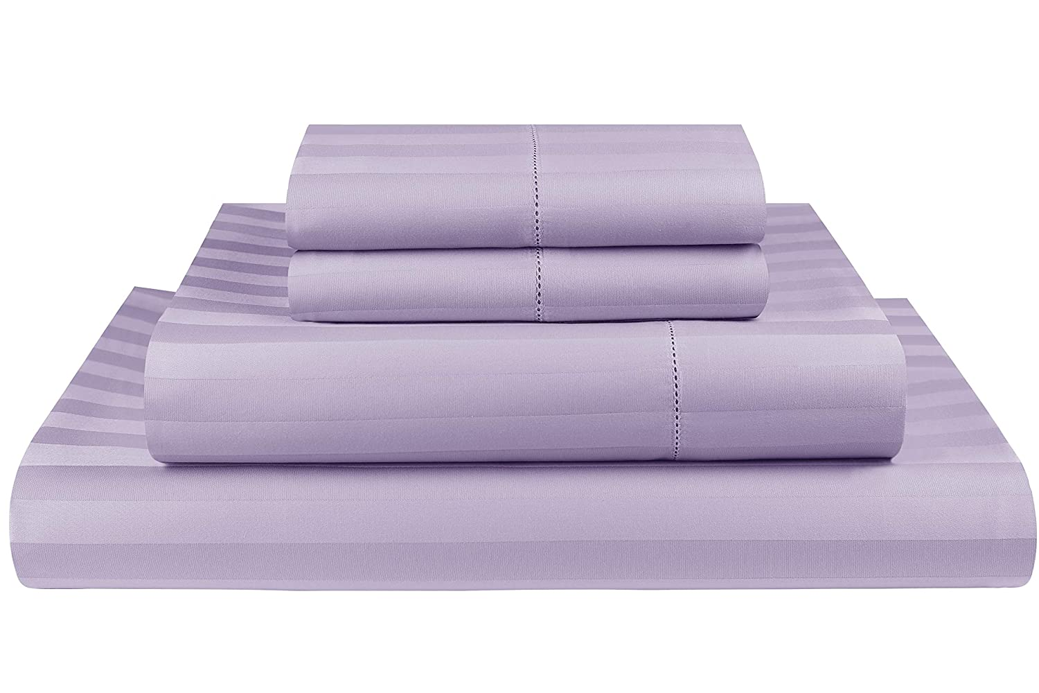 purplec King Threadmill Home Linen 500 Thread Count 100% Extra-Long Staple Cotton Sheet Set, Damask Stripe Hemstitch Luxury Bedding, California King Sheets, 4 Piece Set,Smooth Sateen Weave,Beige
