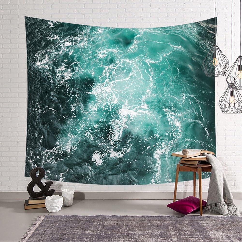 poli/éster QCWN Tapiz decorativo para pared con dise/ño de ondas marinas y playas 59Wx40L 4