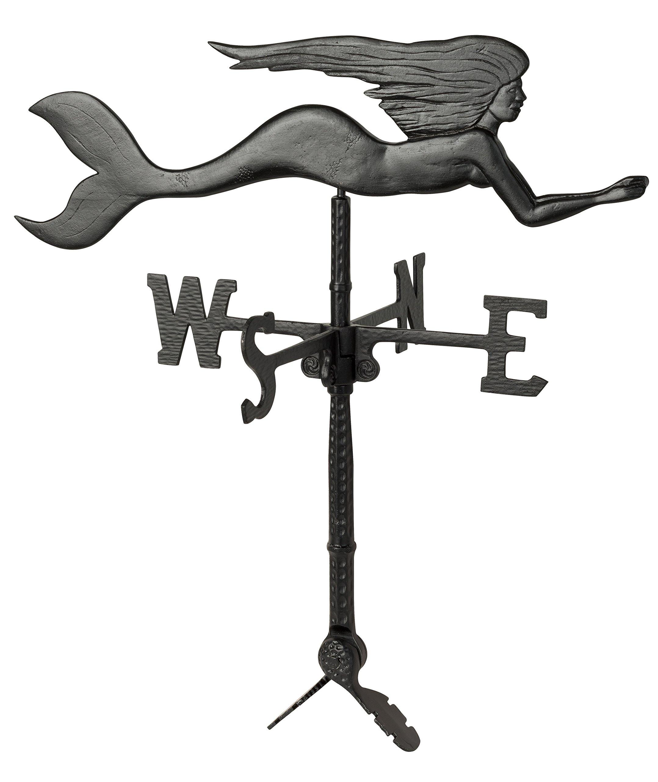 Montague Metal Products WV-286-SB Mermaid Weathervane, 32'', Black
