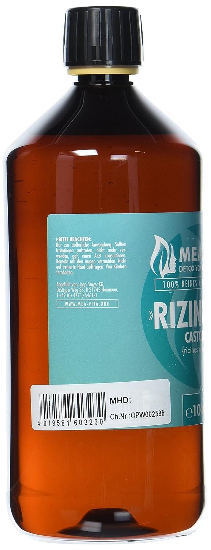 MeaVita aceite de ricino - puro, natural, vegano, sin hexano, no OGM, 1-Pack (1 x 1000 ml): Amazon.es: Belleza