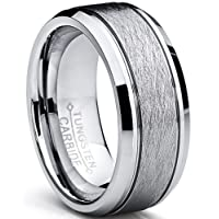 Ultimate Metals Co. Tungsten Carbide Men's Brushed Center Wedding Band Ring, Comfort Fit,8 mm