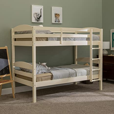 Amazon Com Walker Edison Wood Twin Bunk Kids Bed Bedroom With Guard Rail And Ladder Easy Assembly White Furniture Decor