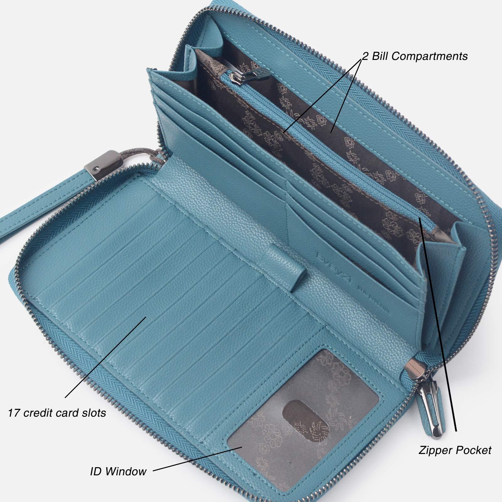 Women RFID Blocking Wallet Leather Zip Around Phone Clutch Large Travel Purse Wristlet (Lake Blue) by Bveyzi (Image #4)