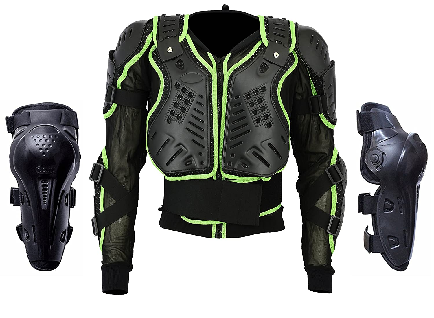 Motocross Motorbike Body Armour Motorcycle Protection Jacket Armoured Mountain Cycling Riding Skating Snowboarding Track Crash Guard CE Approved Green