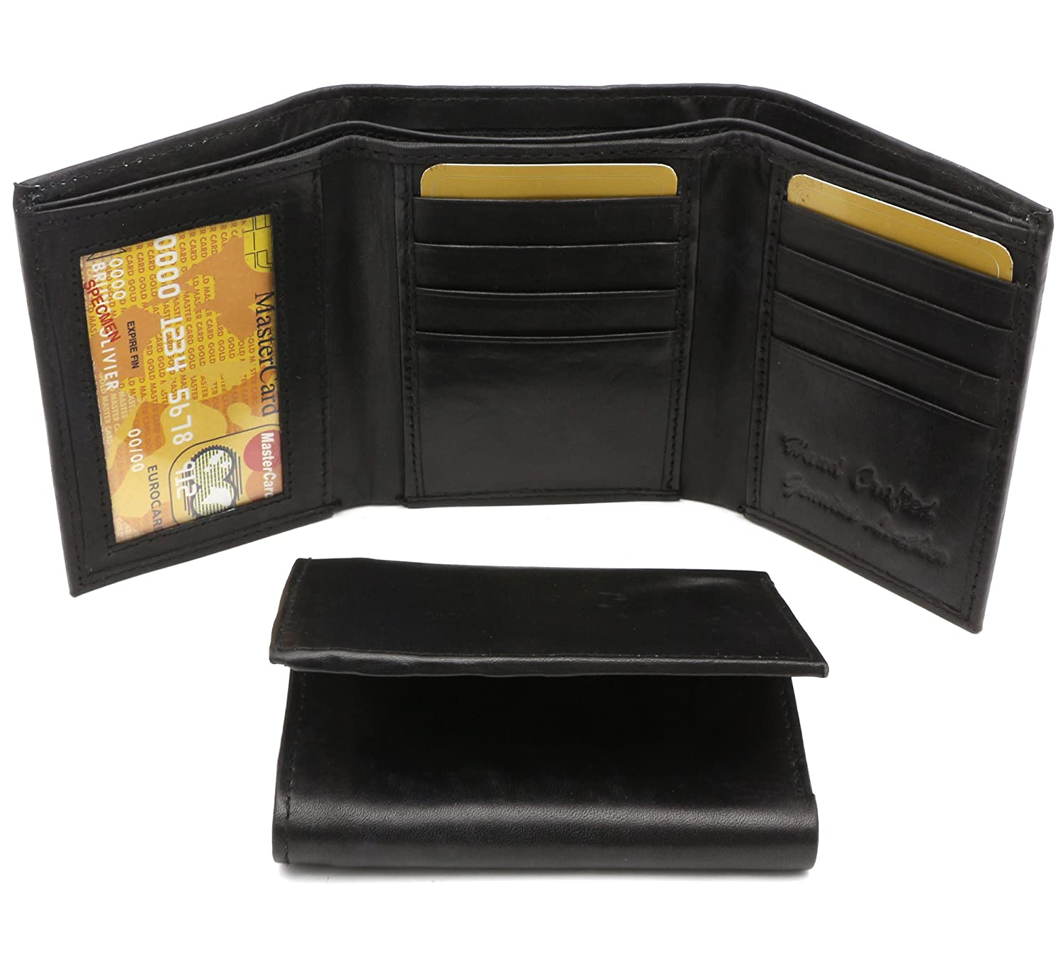 Trifold Genuine Leather Black Plain Compact Wallet With Zipper Currency Pocket