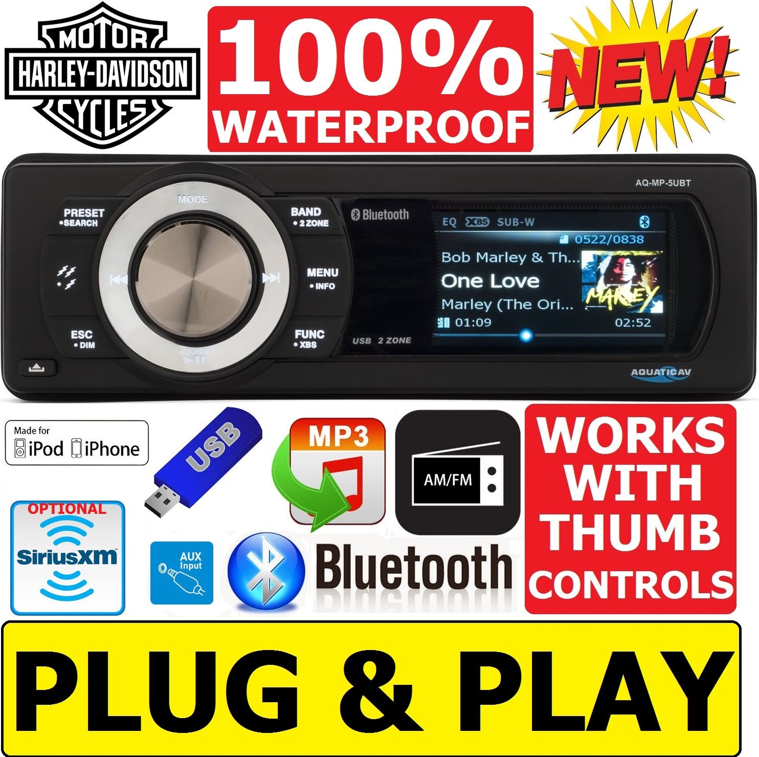 Plug -And -Play Harley Davidson Touring 1998-2013 Aquatic A/V Waterproof Radio Stereo Works With Thumb Controls Works with Iphone & Ipod