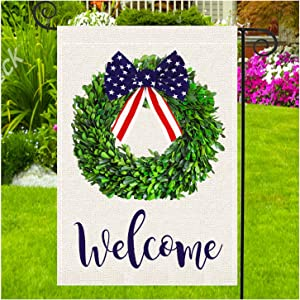 Gz party Patriotic Garden Flag,4th of July Memorial Day Independence Day Burlap Yard Outdoor Decoration 12.5 x 18 Inch (Garden Size-12.5x18)