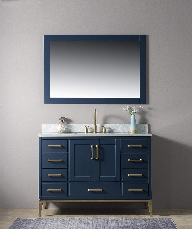 Amazon Com Urbanfurnishing Net Joy 48 Inch 48 Bathroom Sink Vanity Set With White Italian Carrara Marble Top Blue Home Kitchen
