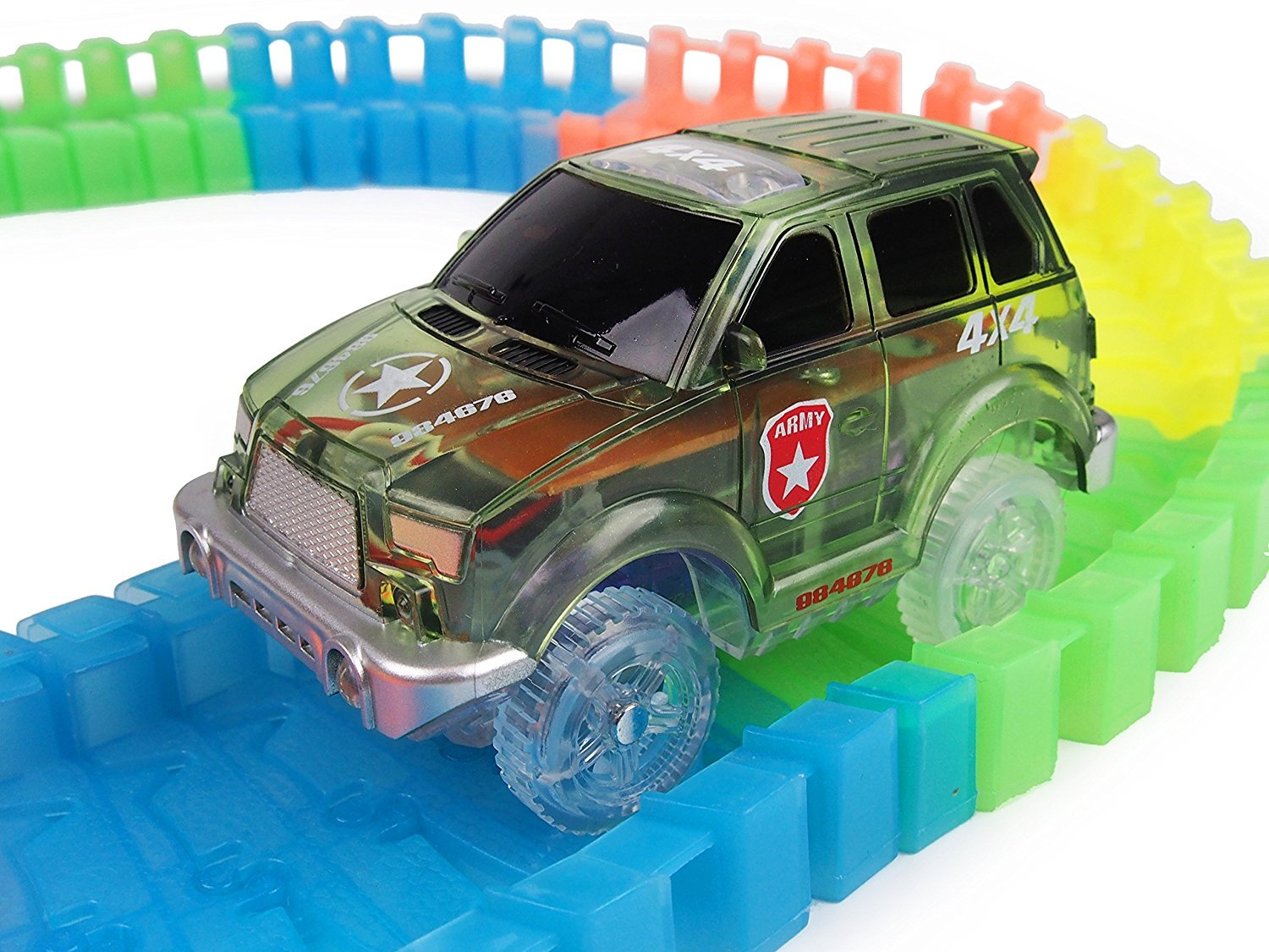 Track Car 3 Pack, Green Military Jeep, Blue Police and School Bus Car, with 5 LED Lights, Compatible with Most Tracks Including Magic Tracks, Neo Twister Tracks, Boys and Girls by HapiSimi (Image #8)