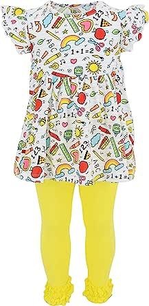 Unique Baby Girls Back to School Fun School Supplies 2pc Legging Set