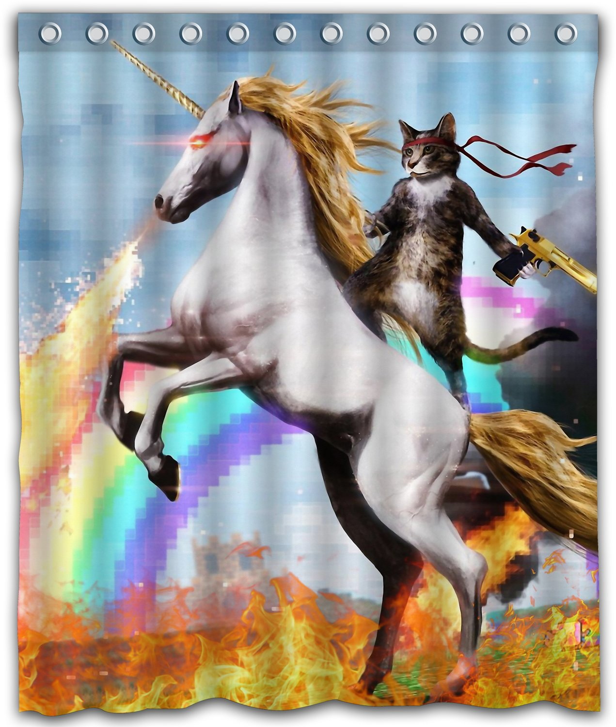 "Delean Custom Cool Cat Riding Horse Water-Proof Shower Curtain Printed for Bathroom Decoration 66""x72"""
