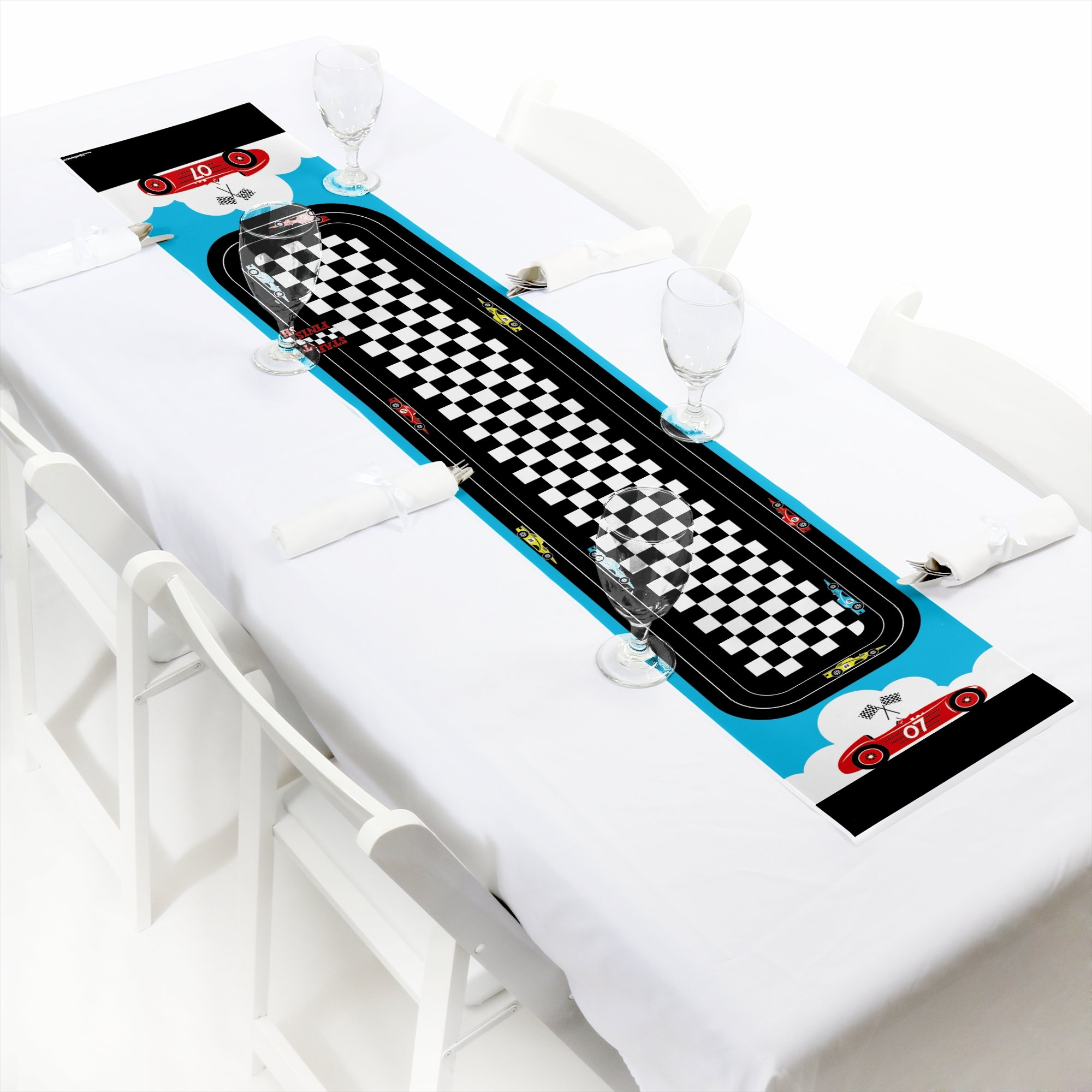 Big Dot of Happiness Let's Go Racing - Racecar - Petite Race Car Birthday Party or Baby Shower Paper Table Runner - 12 x 60 inches