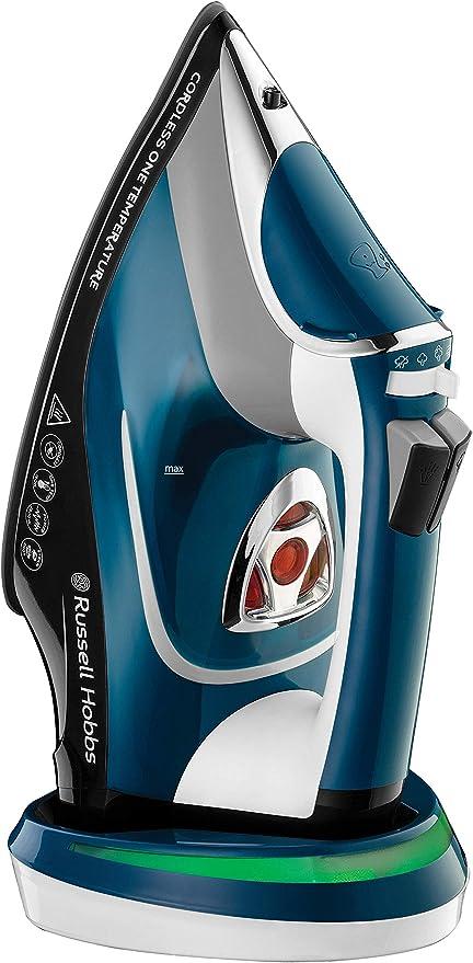 Russell Hobbs One Temperature - Plancha de ropa de vapor (sin cable, 2600 W, suela de cerámica, azul) ref. 26020-56: Amazon.es: Hogar