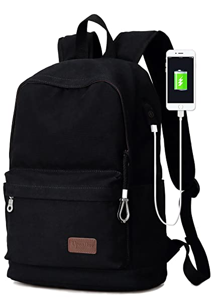 2eea83c7df6c Upoalker Canvas Backpack with USB Charging Port for School Bookbag Travel  Rucksack for Fits up to