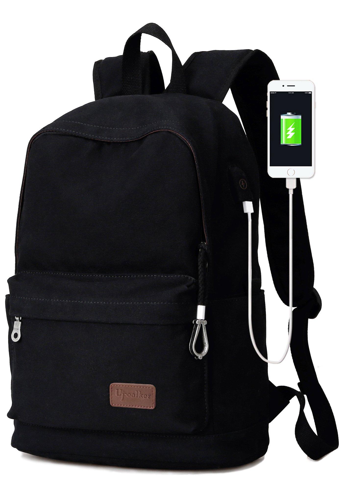 Upoalker Canvas Backpack with USB Charging Port for School Bookbag Travel Rucksack for Fits up to 15.6 inch Laptop Bag (Black)