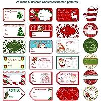 Tinksky Autocollants pour étiquettes de cadeaux de noël, étiquettes actuelles Étiquettes Autocollants autocollants Décalques 24 Designs Festival Anniversaire Fête de mariage décontracté 144pcs