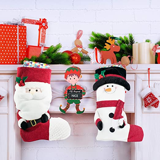 20CM NOVELTY CHRISTMAS HANGING PLAQUES 3 DESIGNS SANTA XMAS DECORATION HOME