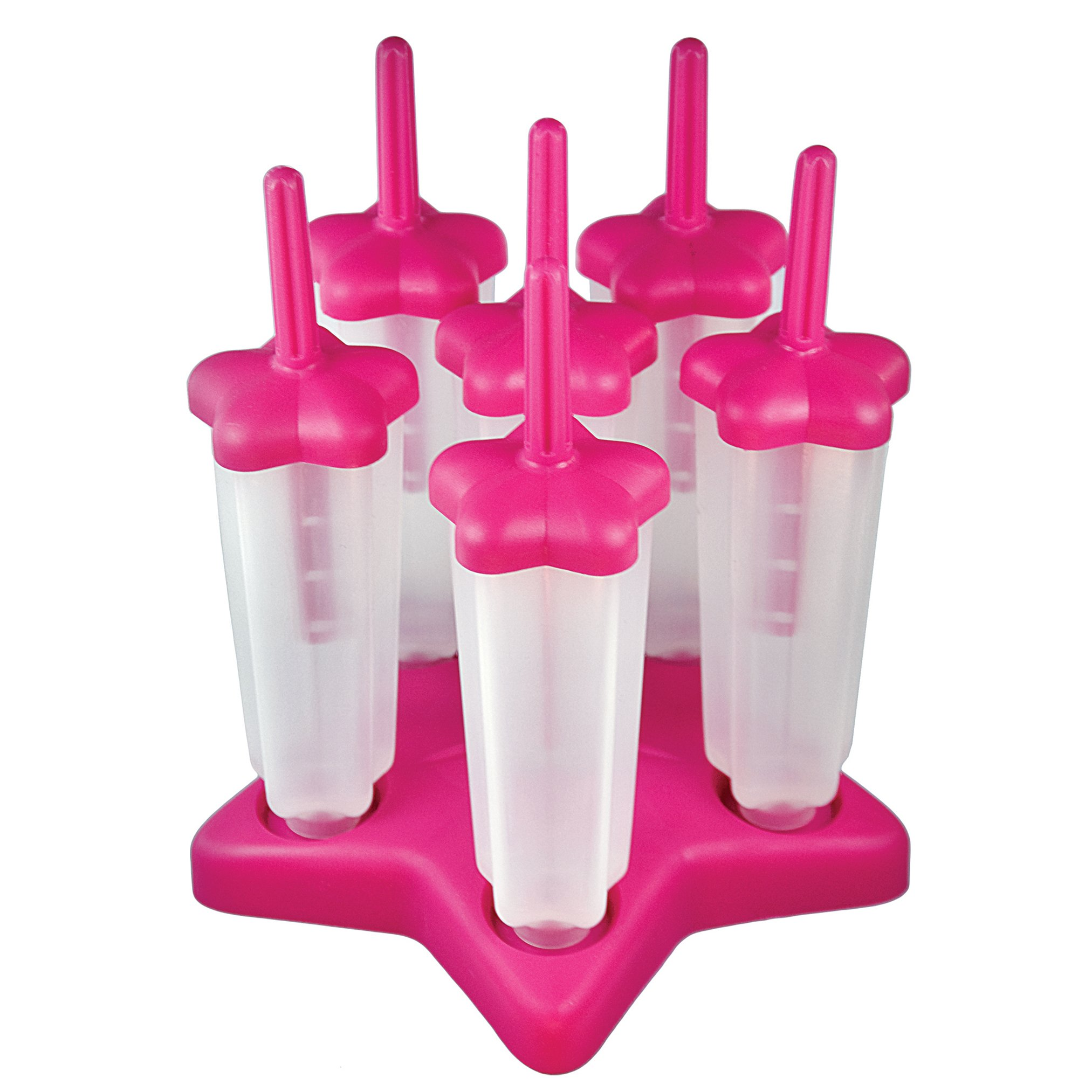 Tovolo Star Pop Molds with Drip Guard, Anti-Tip Base, Pink - Set of 6 by Tovolo (Image #1)