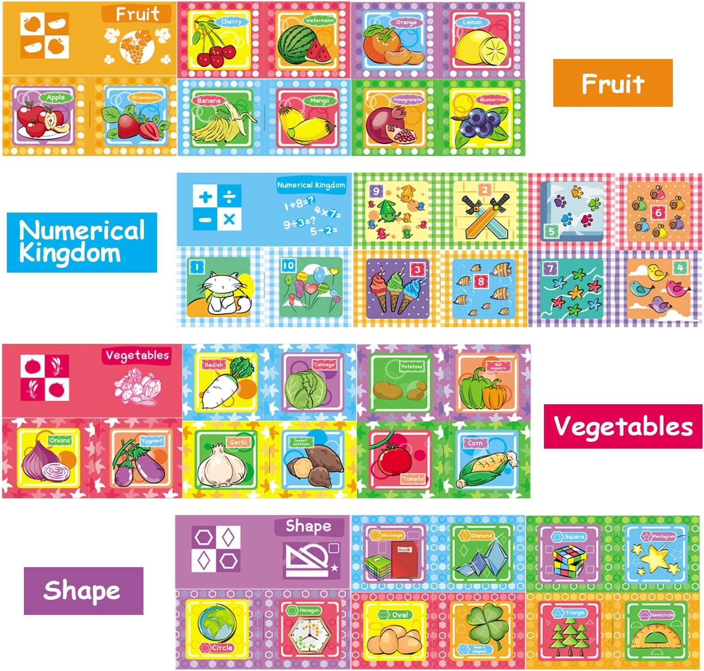Nontoxic Fabric Baby Cloth Books Early Education Toys Activity Crinkle Book for Touch and Feel Shower Gift for Toddler Tencoz My First Soft Book and Kids Pack of 8 Infants