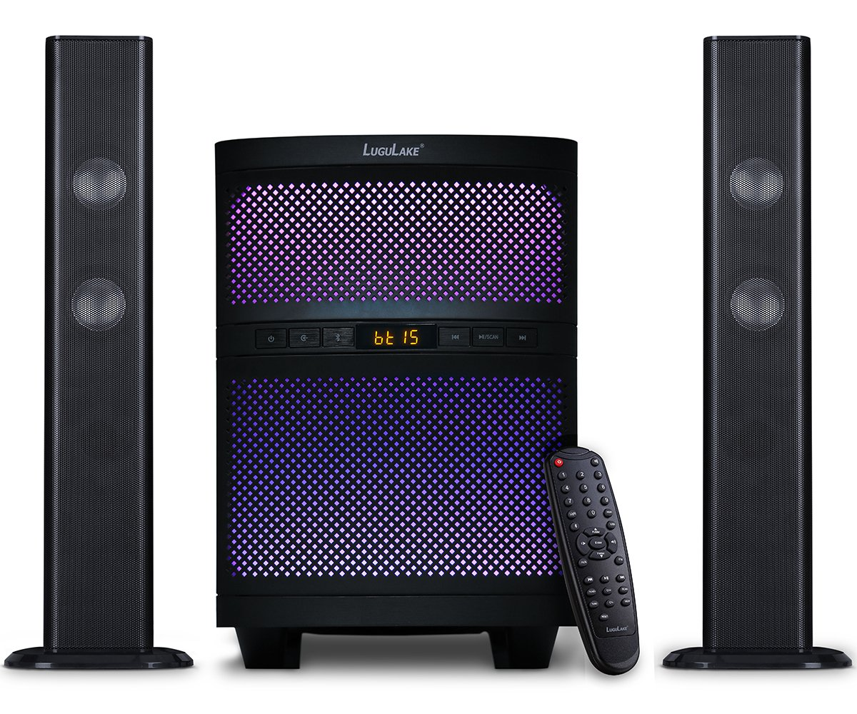 LuguLake TV Sound bar Speaker System with Subwoofer, Bluetooth, Adjustable LED Lights, FM Radio, USB Reader, Composable Floor Speaker by LuguLake (Image #2)
