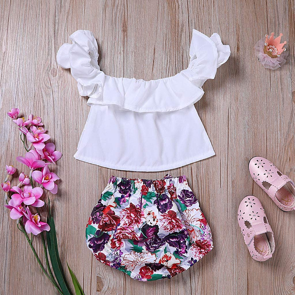 Fabal Infant Baby Girls Off Shoulder Ruffles Solid Tops+Floral Print Shorts Outfits