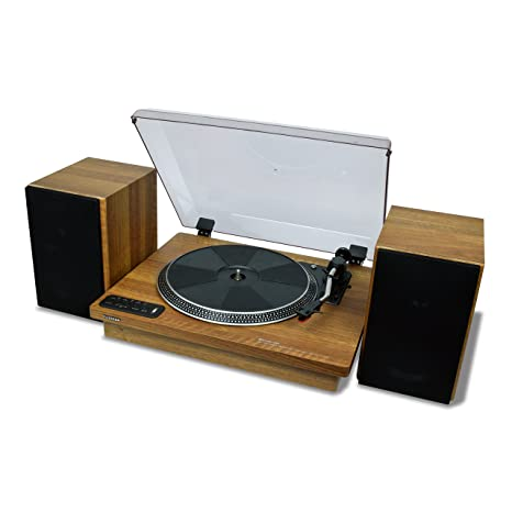 "Toshiba Vinyl Record Player Turntable: 12"" 3-Speed Bluetooth Turntables -  Stereo Shelf Speakers, Encoder"