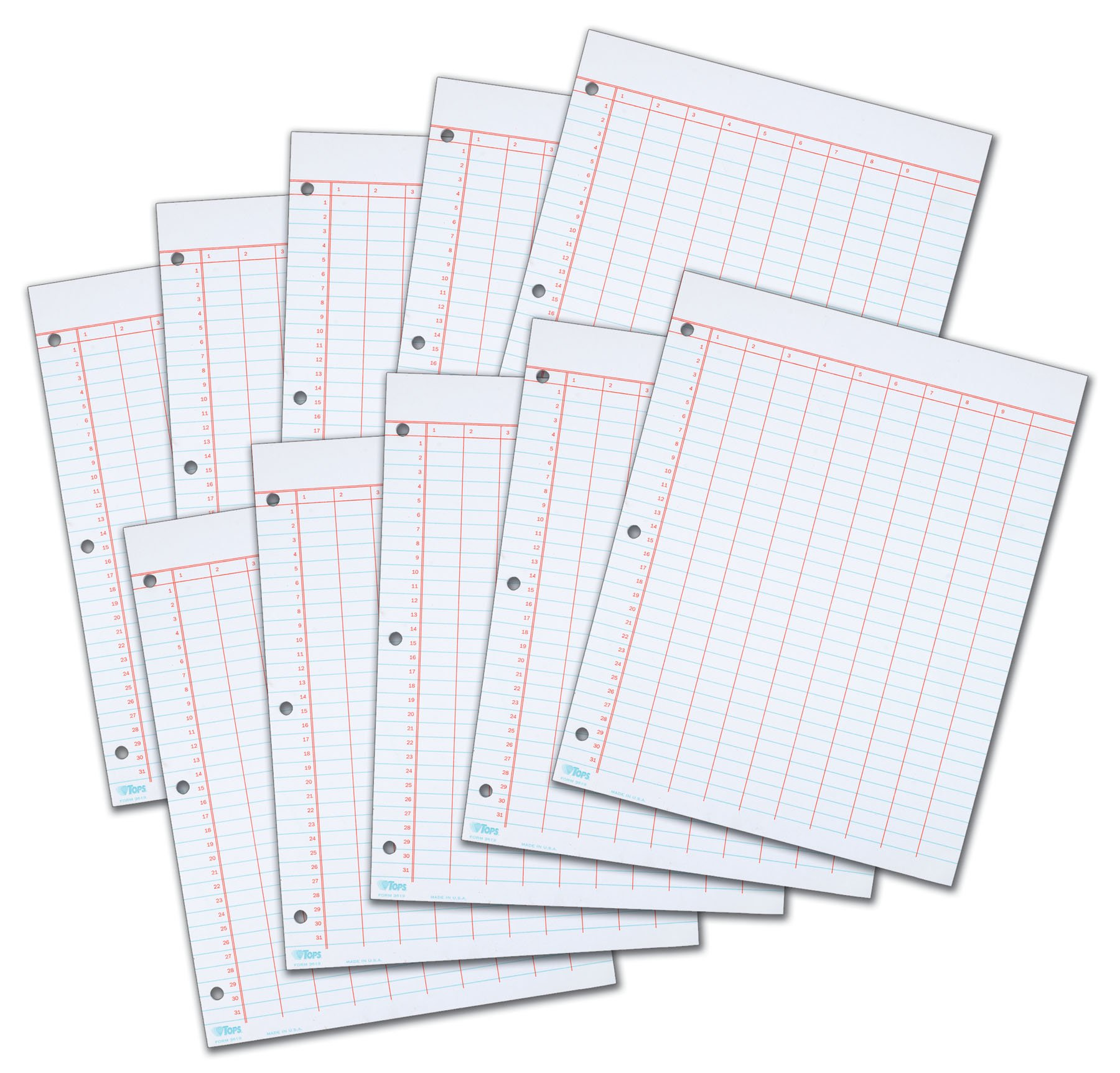 TOPS 3619 Data Pad w/Numbered Column Headings, 11 x 8 1/2, White, 50 Sheets