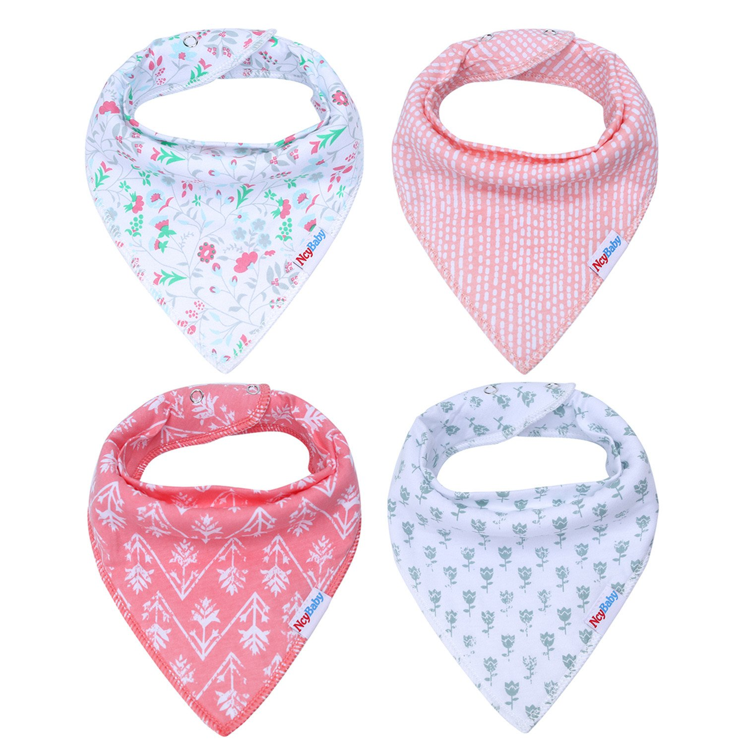 Storeofbaby Baby Bandana Drool Bibs for Girls Teething Stylish Shower Gift 4 Pack BabybibsI