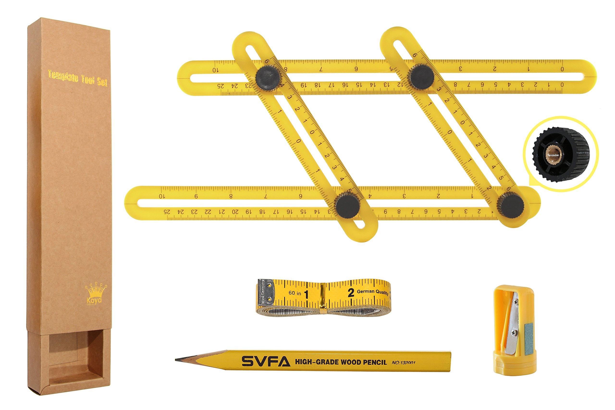 Multi Angle Measuring Template Tool Set - Premium Universal Angularizer Ruler - Perfect For Builders Craftsmen Handymen Carpenters DIY & GREAT GIFT (Yellow)