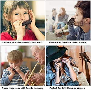 NEUMA Harmonica 10 Holes 20 Tunes Mouth Organ Blues Deluxe Harmonica, Key of C Major for Beginner, Adults, Kids Gift, Professional with Case and Cleaning Cloth, Black (Color: Black, Tamaño: Small-sized harmonica)
