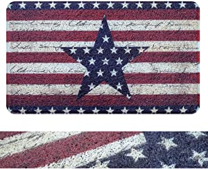 "RORA PVC Retro Patriotic American Flag Stars Stripes Outdoor Indoor Welcome Doormat Rubber Back Non-Slip Entryway Rugs Shoes Mat Scraper Carpet Dirt Mud Trapper Rugs Garage Patio Garden(17.3""x29.5"")"