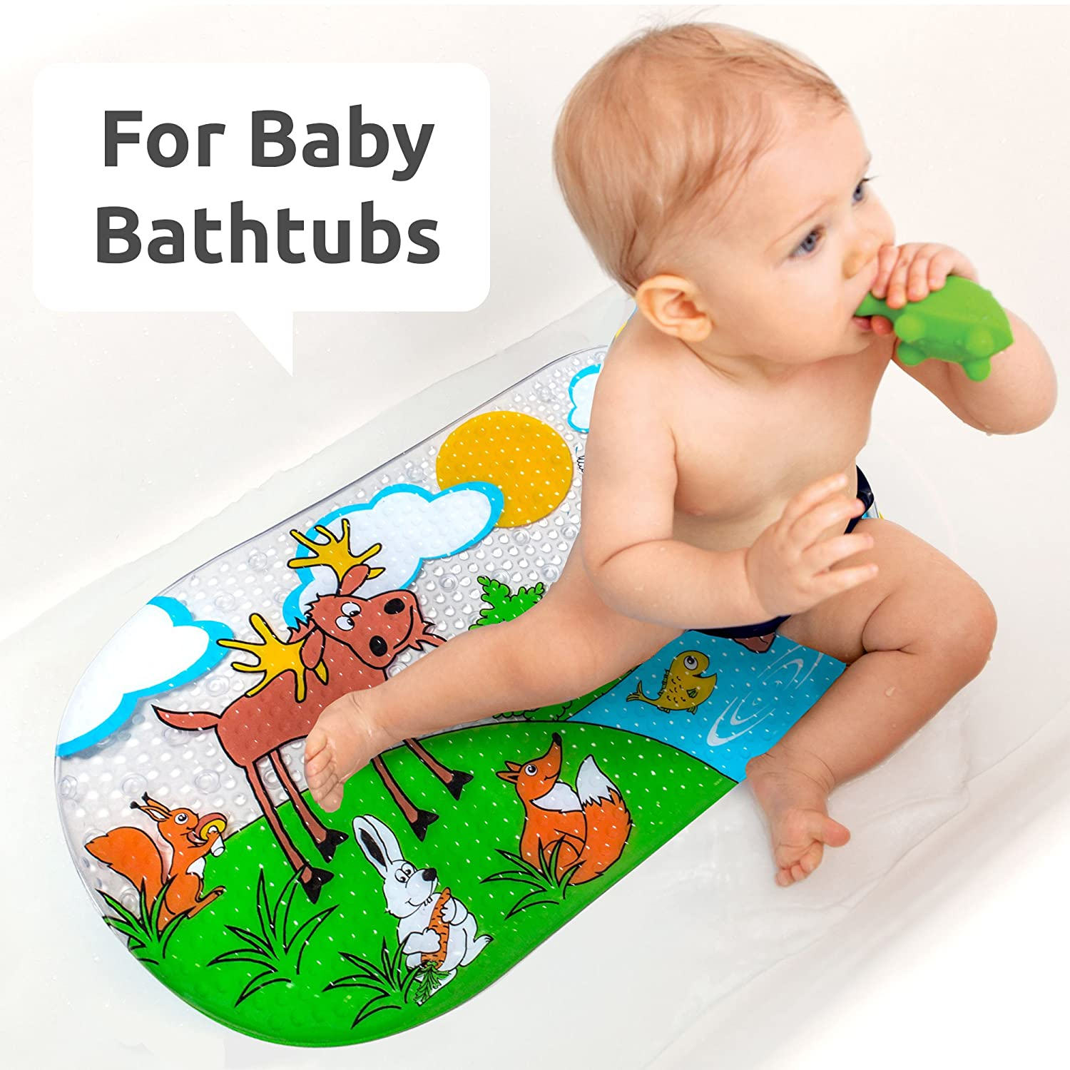 "Amazon Baby Bath Mat Non Slip for Kids Size 27"" x 15"" 144"