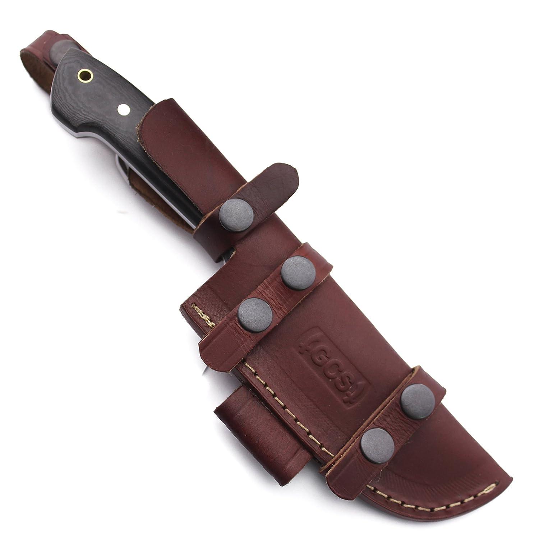 GCS Custom Handmade Black Micarta Handle D2 Tool Steel Skinner Bushcraft Knife Buffalo Hide Sheath 170