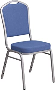 Flash Furniture HERCULES Series Crown Back Stacking Banquet Chair in Blue Fabric - Silver Frame