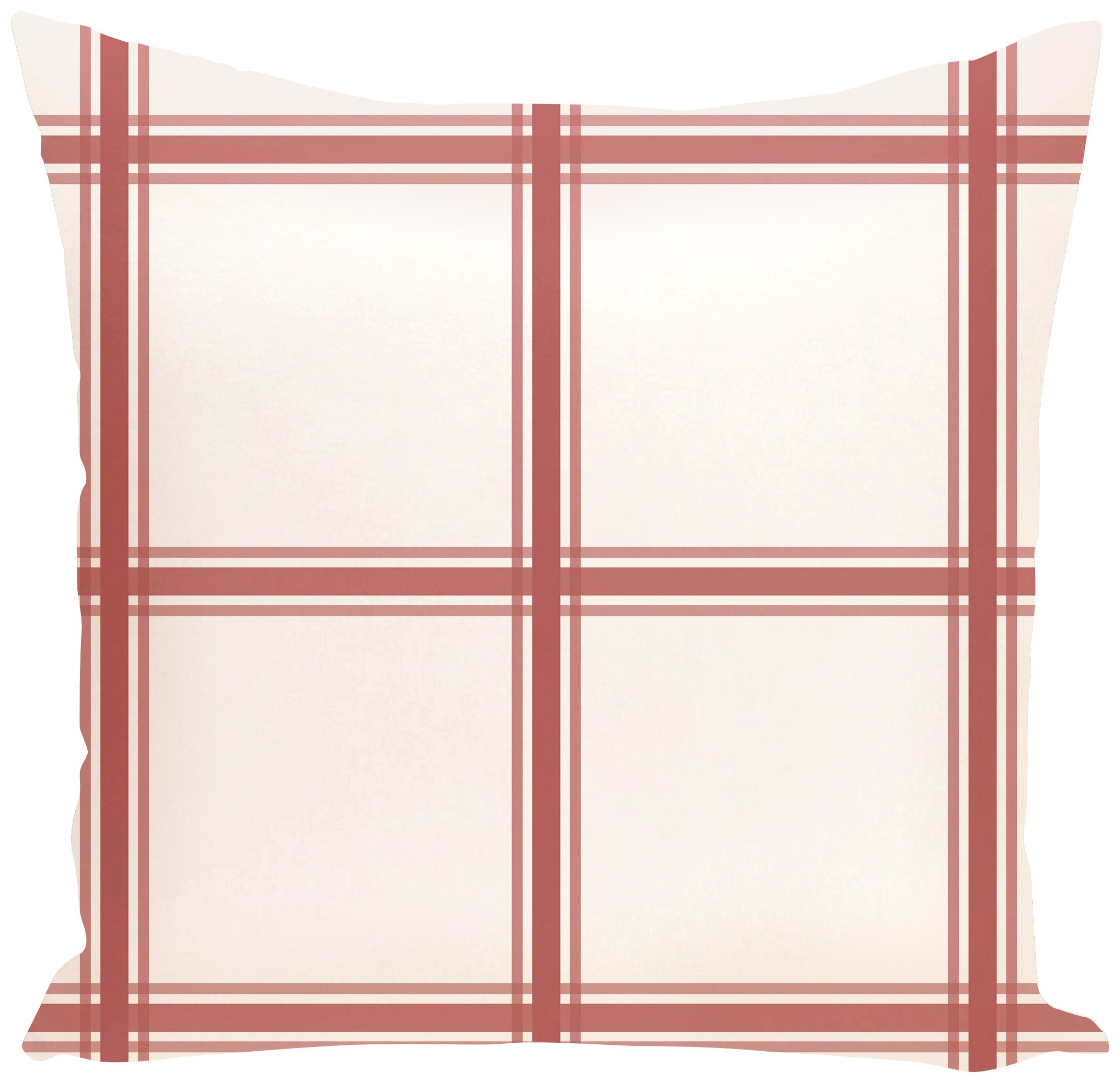 E by design O5PGN127OR8-16 Windowpane Plaid Geometric Print Coral Outdoor Pillow