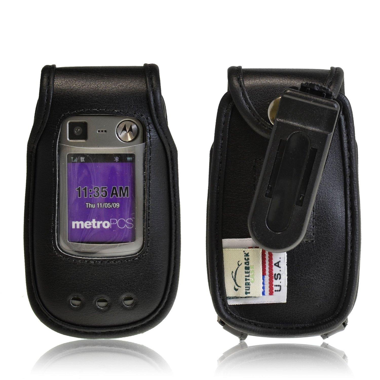 Turtleback Black Leather Case for Motorola Quantico W845 V840 Flip Phone Case with Ratcheting Belt Clip - Made in USA