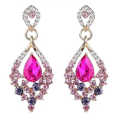 25cd01d35 EleQueen Women's Gold-tone Austrian Crystal Teardrop Dangle Chandelier  Sparking Earrings Pink