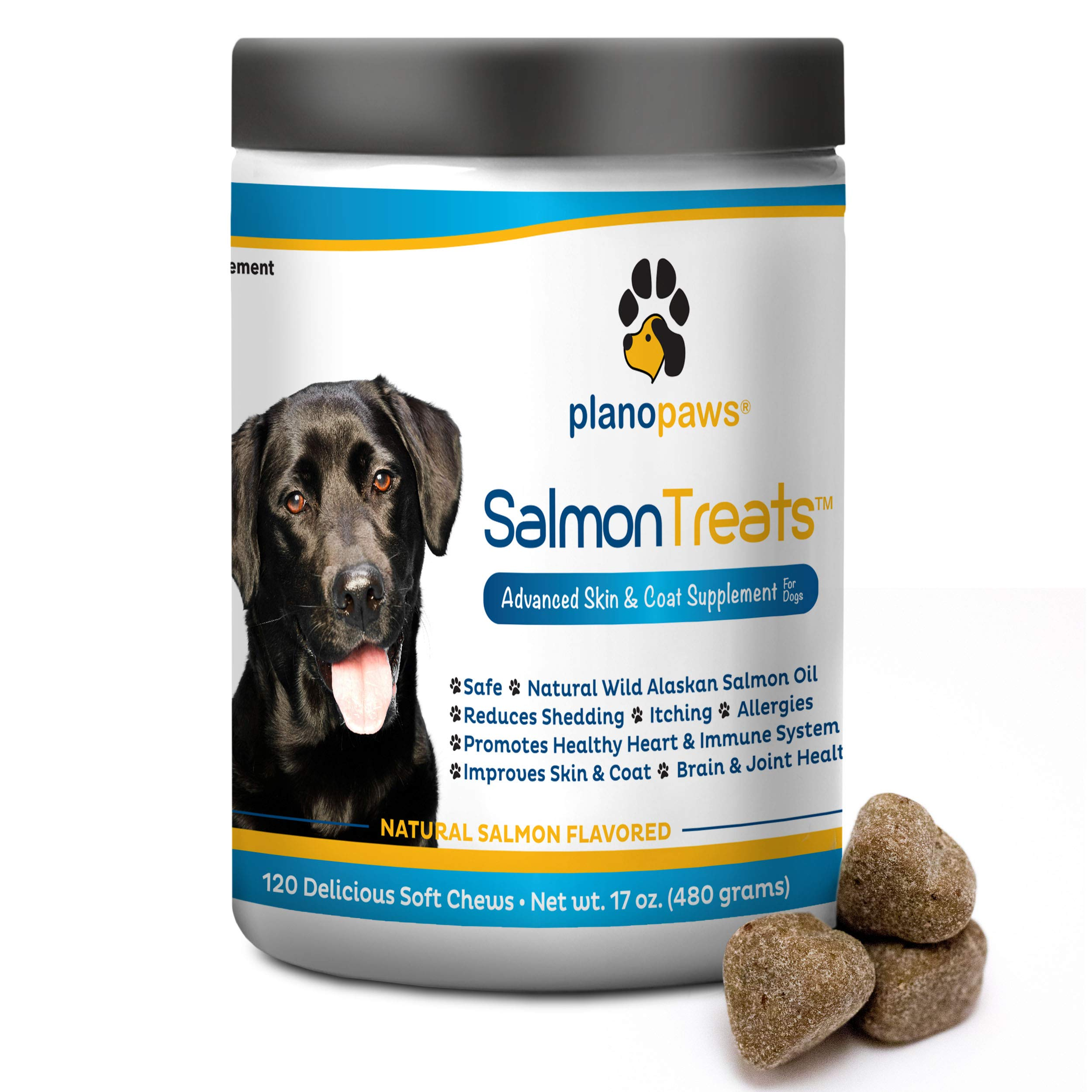 Salmon Oil for Dogs - Omega 3 Fish Oil for Dogs - Itching Skin Relief - Dog Allergy Relief Medicine - Improves Shedding Itchy Dog Skin - 120 Dog Fish Oil Treats - Natural Wild Alaskan Salmon Oil Chews by planopaws