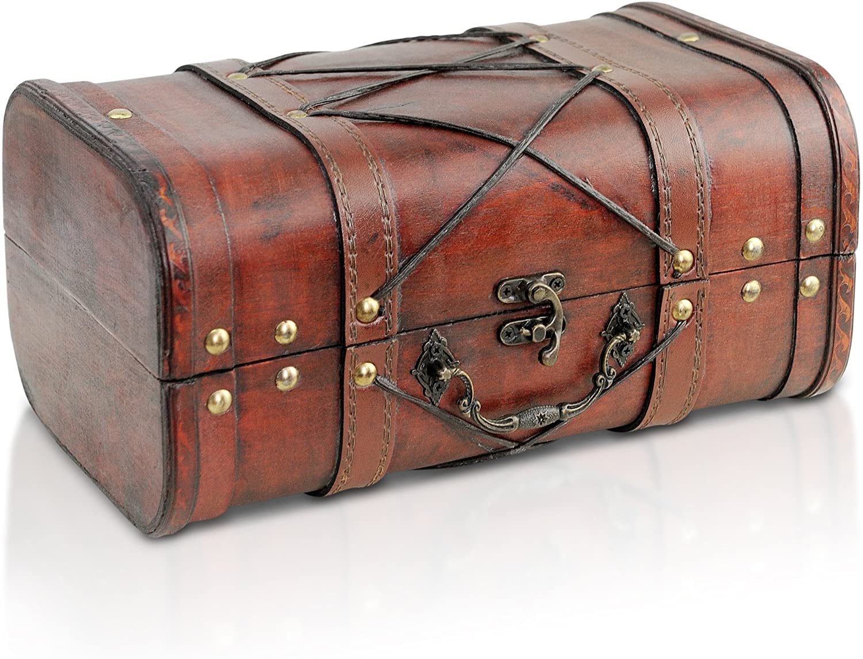 Brynnberg - Caja de Madera Cofre del Tesoro Pirata de Estilo Vintage, Hecha a Mano, Diseño Retro 28x28x14cm