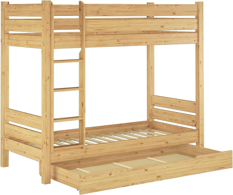 Erst-Holz Solido Letto Bianco a Castello di Pino Anche per Adulti 80x200 divisibile 60.16-08WT100oR