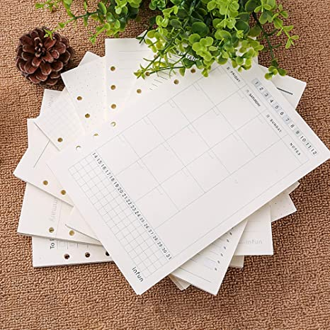 Zhi Jin - hojas de recambio de papel estándar, para agenda ...