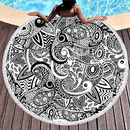 Toalla de playa grande, redonda, color blanco y negro ...