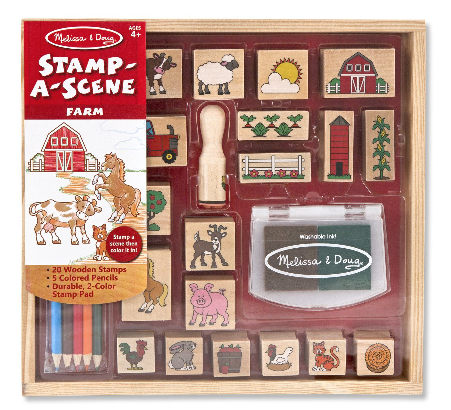 Where to buy stamps -  Melissa Doug Stamp A Scene Wooden Set Farm 20 Stamps 5 Colored Pencils And 2 Color Stamp Pad